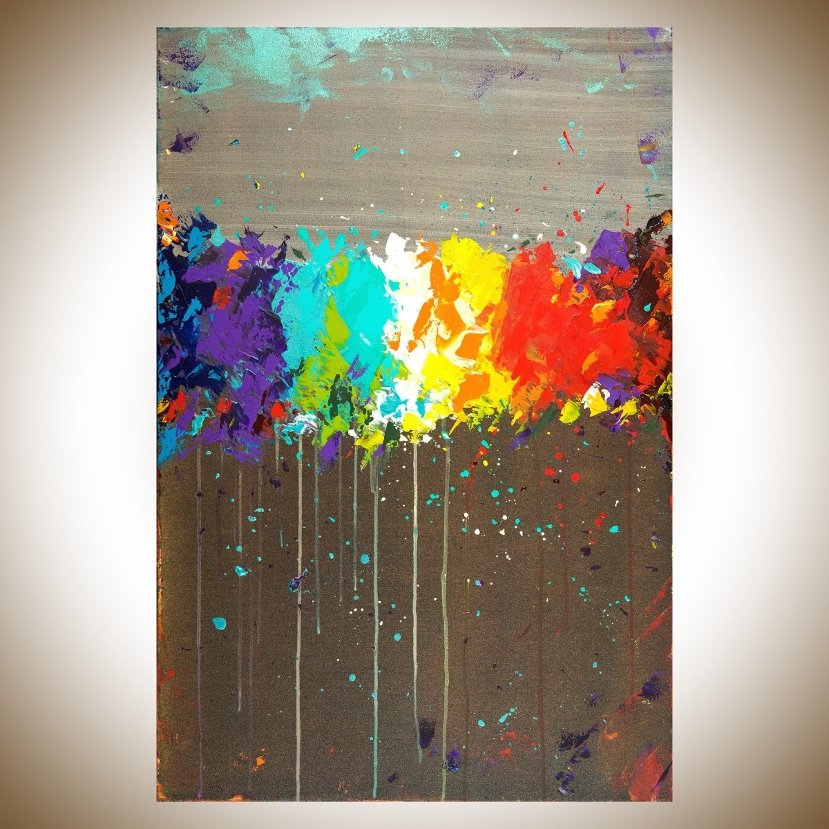 """Abstract Wall Art Inside Famous Fireworksqiqigallery 36""""x24"""" Original Modern Abstract Wall (View 2 of 15)"""
