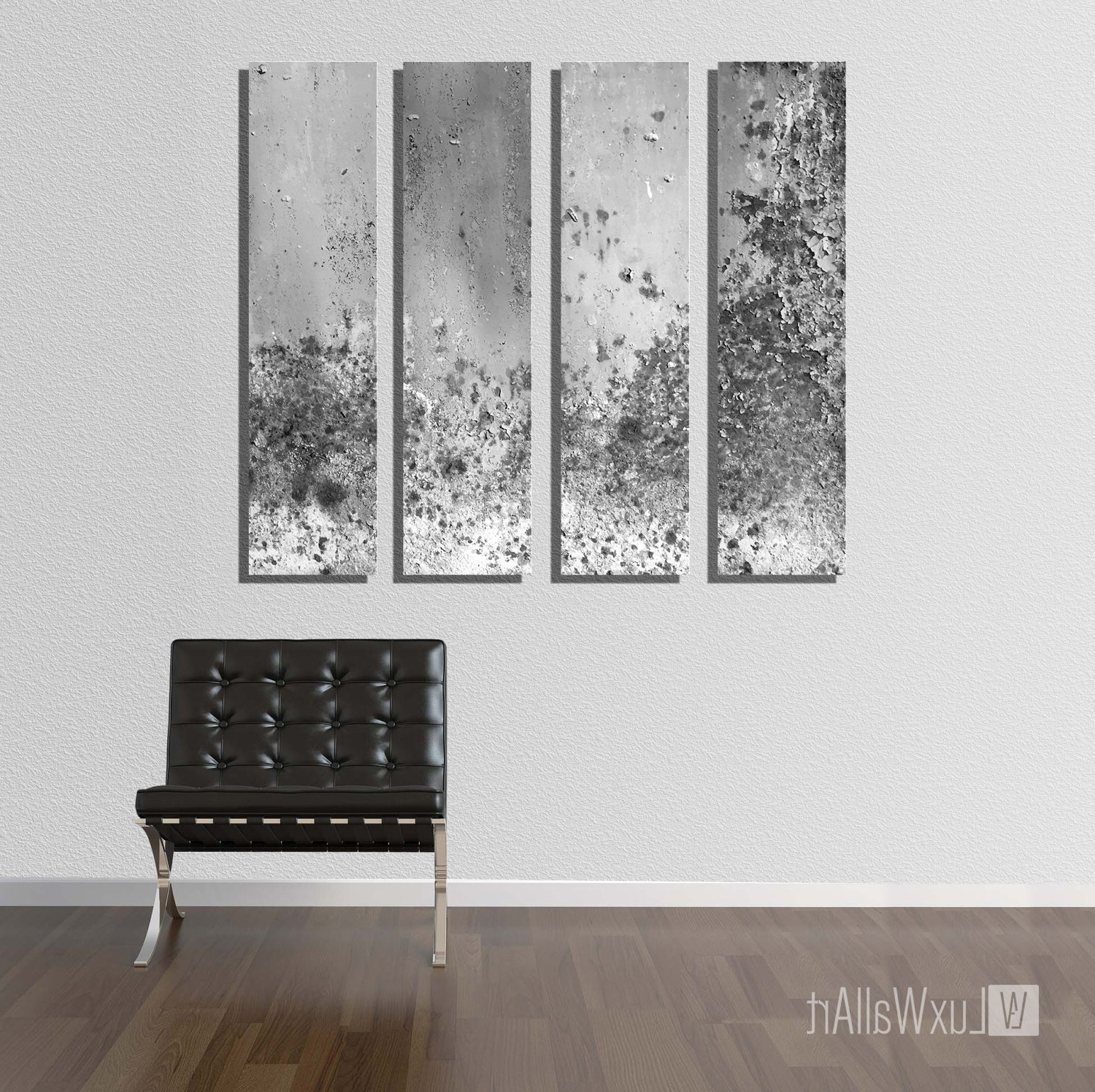 Abstract Wall Art With Regard To 2018 Silver Large Vertical Thin Panel Metal Abstract Wall Art (View 7 of 15)