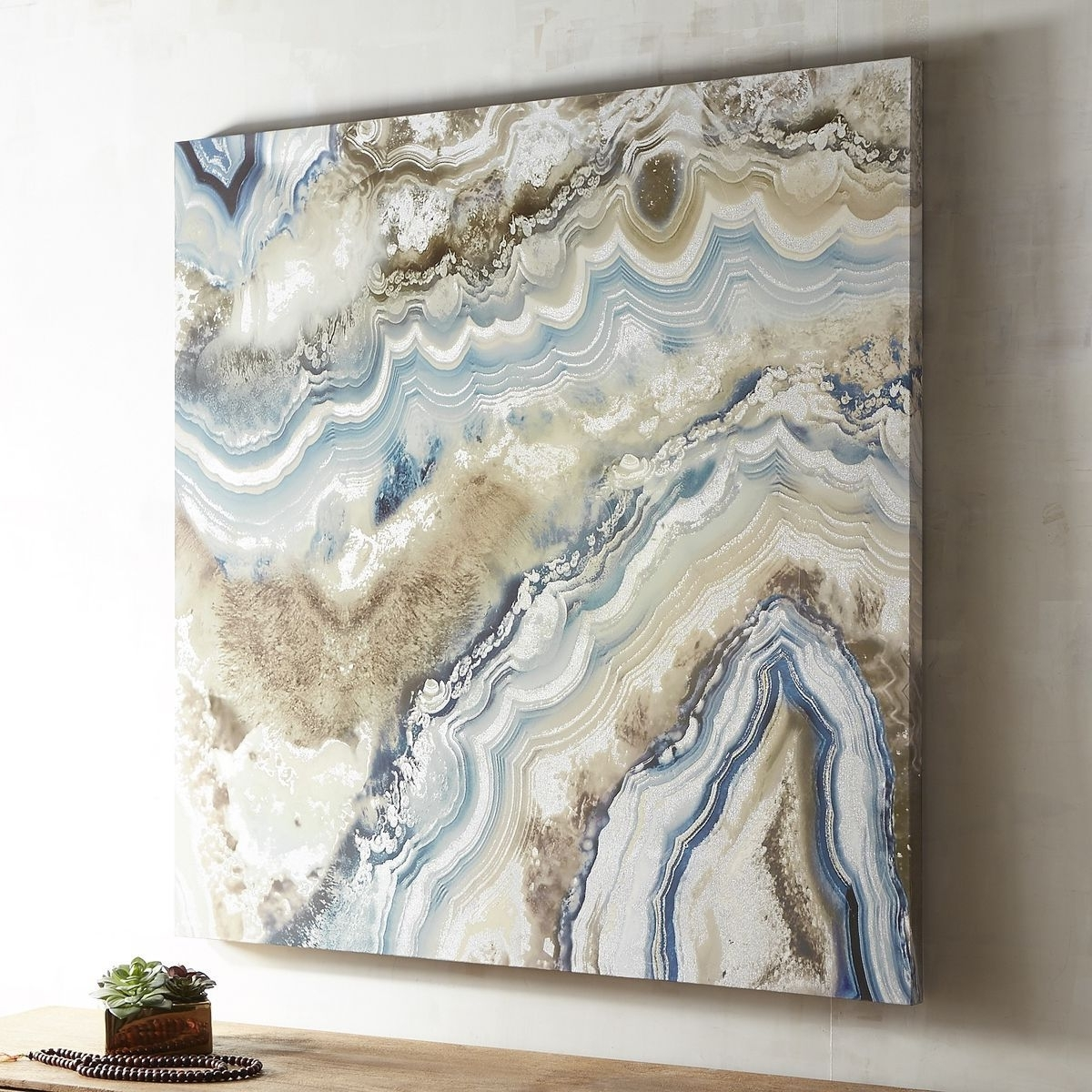 Agate Wall Art In Widely Used Agate Pale Blue Abstract Art (View 3 of 15)