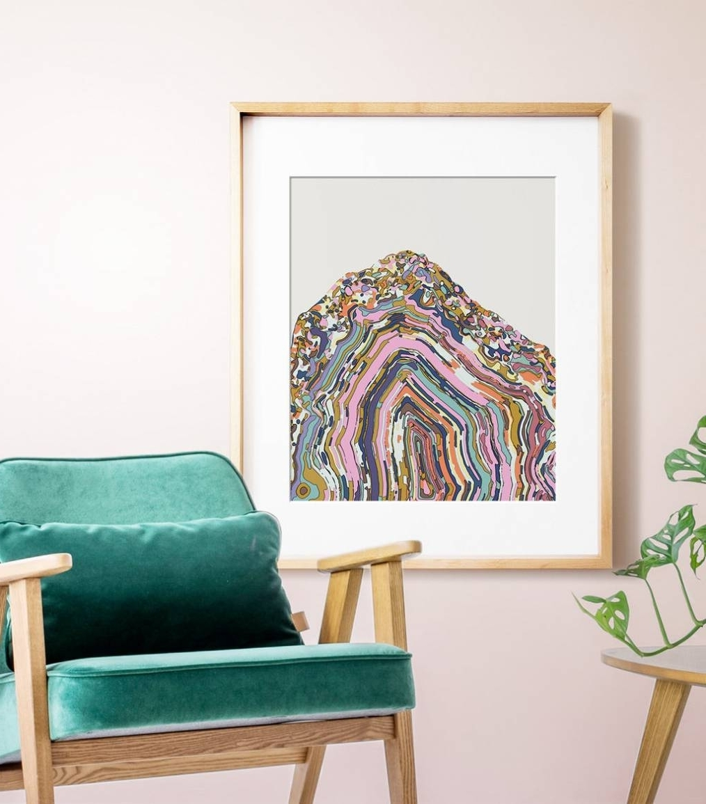 Agate Wall Art Throughout Most Recently Released Simple Agate Crystal Agate Slice Art Print Jetty Home Intended Wall (View 5 of 15)