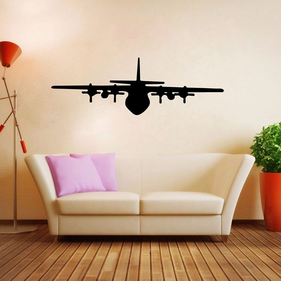 Airplane Wall Art Decals Vinyl Wall Sticker Aircraft Design For Throughout Best And Newest Airplane Wall Art (View 13 of 15)