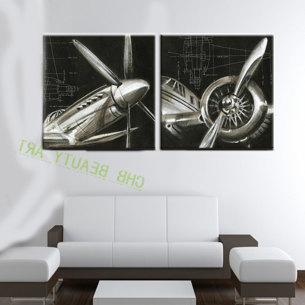 Airplane Wall Art Inside Popular 2 Panels Vintage Airplane Paintings Cheap Abstract Picture Hd (View 3 of 15)