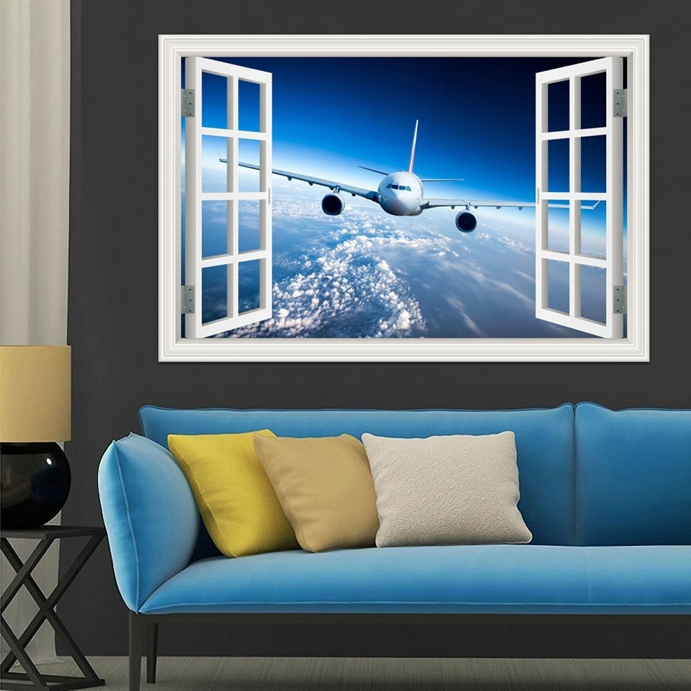 Airplane Wall Art Throughout Recent 3D Landscape Wallpaper Airplane Wall Sticker Decal Vinyl Wall Art (View 3 of 15)