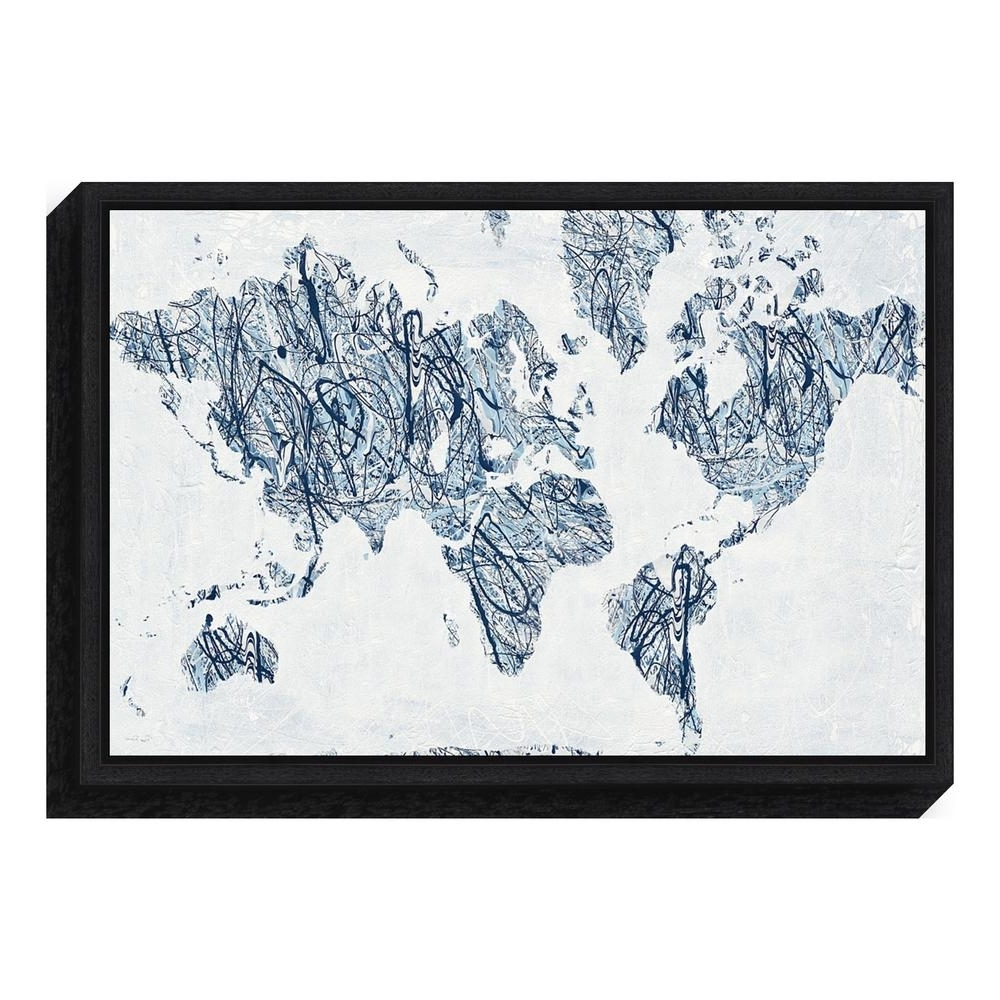 """Amanti Art """"world On A String Map""""piper Rhue Framed Canvas Wall With Regard To Popular String Map Wall Art (View 12 of 15)"""