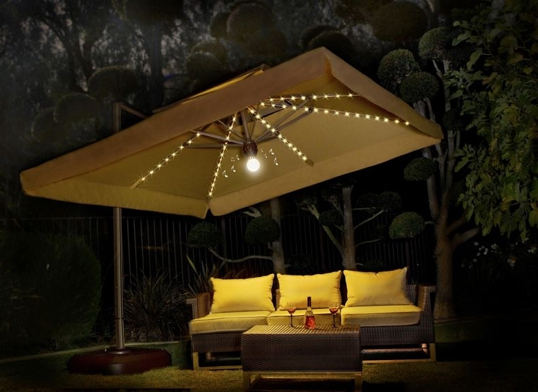 Amazing Patio Umbrella With Lights 10X10 Side Post Umbrella With Inside Latest Patio Umbrellas With Lights (View 3 of 15)