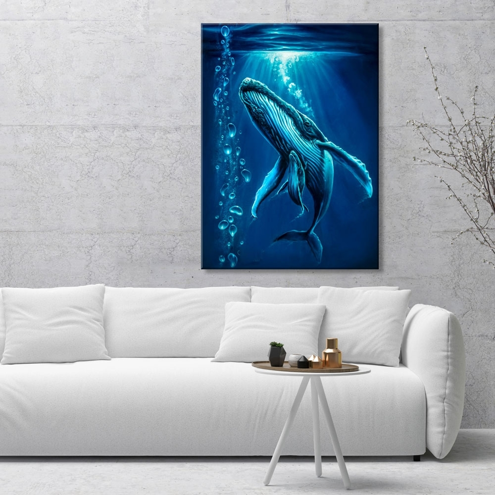 Amazing Whale Ocean Art Prints  Gallery Quality Canvas Prints In Current Whale Canvas Wall Art (View 1 of 15)