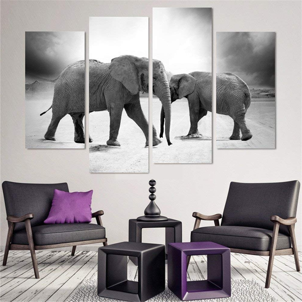 Amazon: Animal Canvas Wall Art Decor Black And White Elephant Regarding Well Liked Elephant Canvas Wall Art (View 12 of 15)