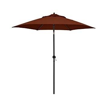 Amazon : Astella 9' Rd Crank Open Tilting Market Umbrella, Brick Pertaining To Well Liked Jewel Patio Umbrellas (View 9 of 15)
