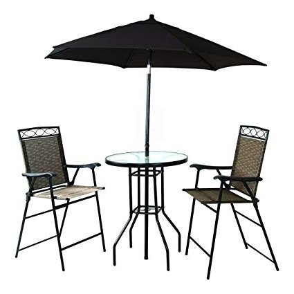 Amazon: Backyard Expressions 909851 Four Piece Folding Bar Throughout Most Up To Date Patio Umbrellas For Bar Height Tables (View 2 of 15)