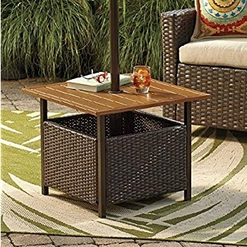 Amazon : Brylanehome Umbrella Stand Side Table (Oil Rubbed Regarding Well Known Patio Umbrellas With Accent Table (View 9 of 15)