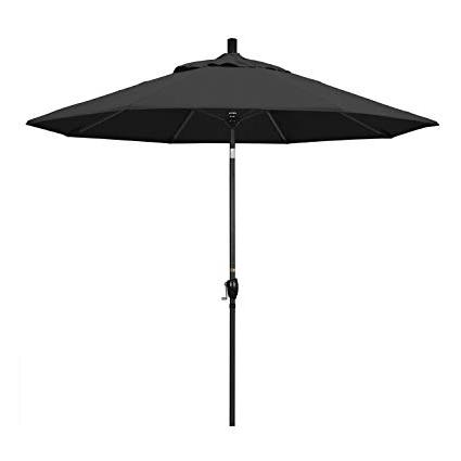 Amazon : California Umbrella 9' Round Aluminum Market Umbrella With Regard To Best And Newest Black Patio Umbrellas (View 5 of 15)