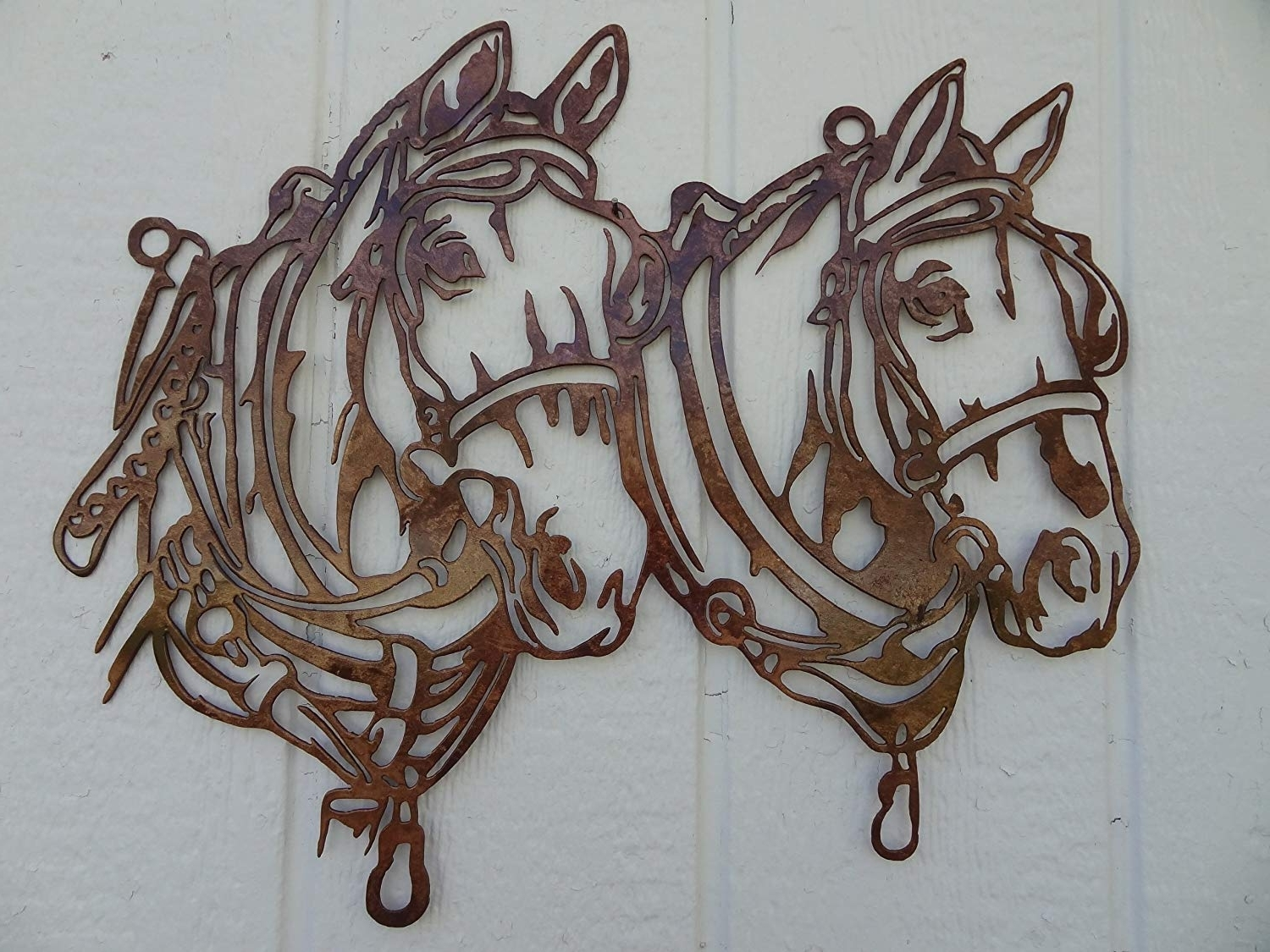Amazon: Draft Horse Head Metal Wall Art Country Rustic Home Inside Most Current Horses Wall Art (View 8 of 15)