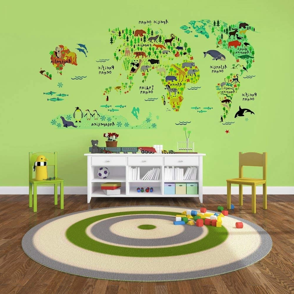 Amazon: Eveshine Animal World Map Wall Decals Stickers For Intended For 2017 World Map Wall Art For Kids (View 6 of 15)