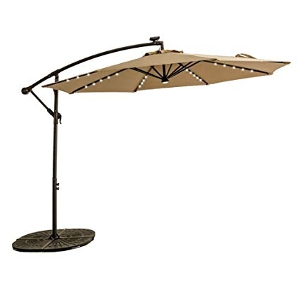 Amazon : Flame&shade 10Ft Solar Power Led Offset Cantilever Intended For Famous Patio Umbrellas With Solar Led Lights (View 2 of 15)