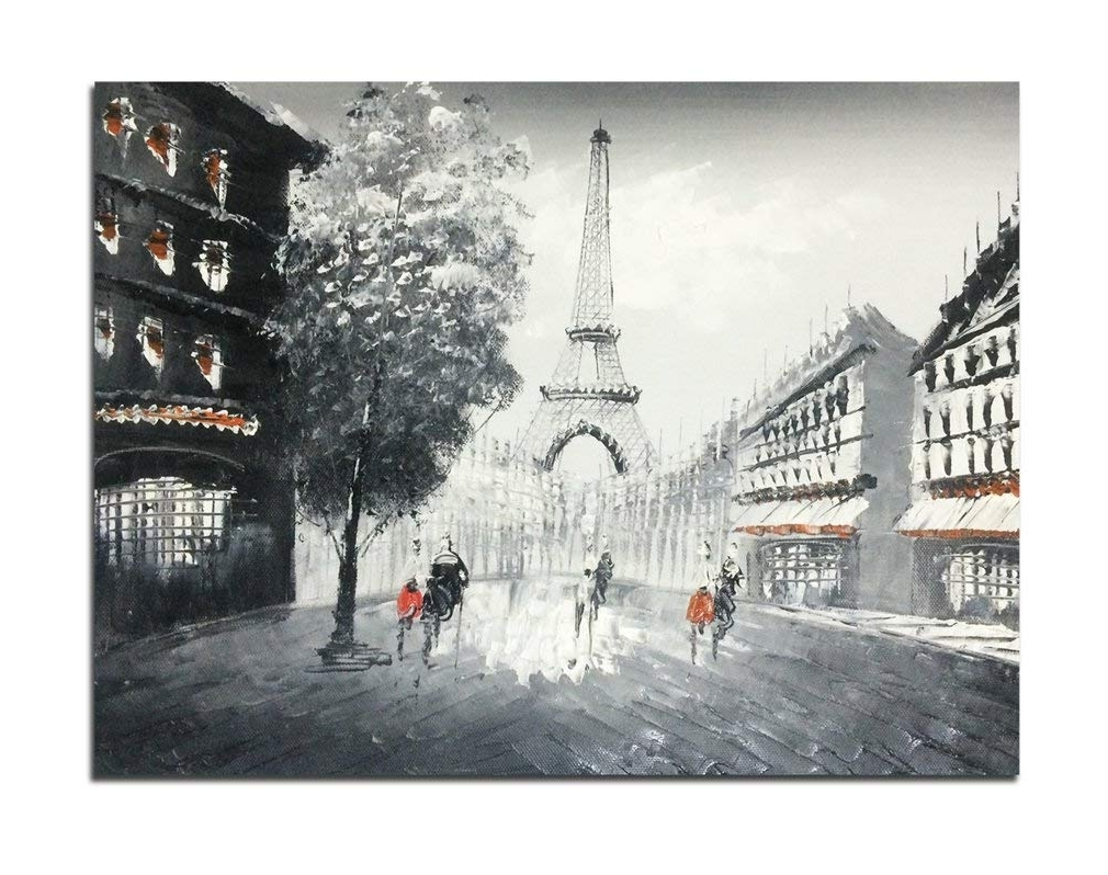 Amazon: Muzagroo Art Oil Paintings Hand Painted Paris Eiffel With Regard To Most Popular Paris Wall Art (View 5 of 15)