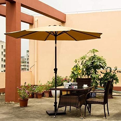Amazon Patio Umbrellas Regarding Well Known Amazon : Ollieroo Patio Umbrella Tilt Beige Aluminum 9Ft Outdoor (View 5 of 15)