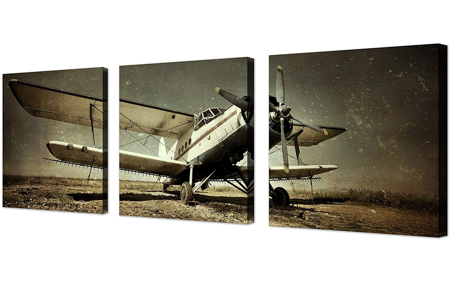 Amazon: Qicai Vintage Airplane Wall Art Giclee Canvas Vintage Throughout Well Known Airplane Wall Art (View 7 of 15)
