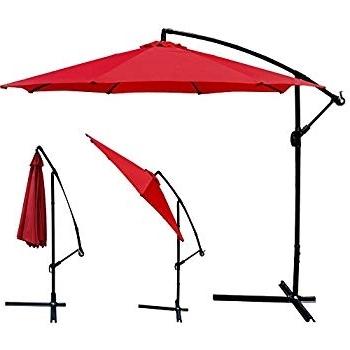 Amazon : Red Patio Umbrella Offset 10' Hanging Umbrella Outdoor In 2017 Red Patio Umbrellas (View 6 of 15)