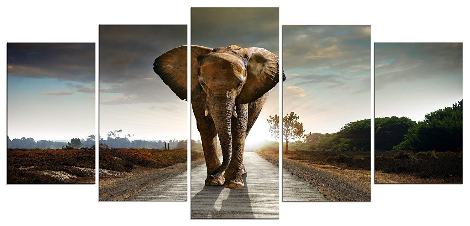 Amazon: Wieco Art Elephant Canvas Prints Wall Art Animals In Recent Elephant Wall Art (View 3 of 15)