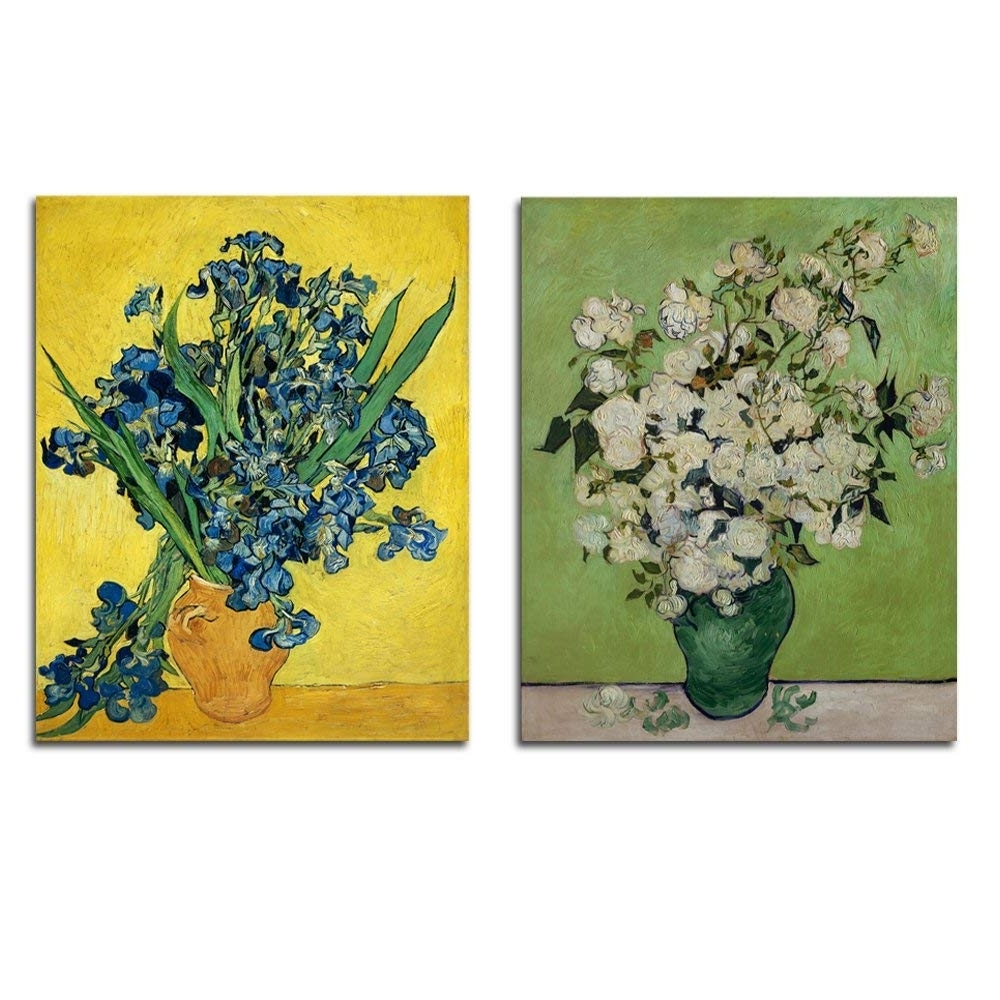 Amazon: Wieco Art Irises In Vase Floral Canvas Prints Wall Art For Latest Floral Canvas Wall Art (View 10 of 15)