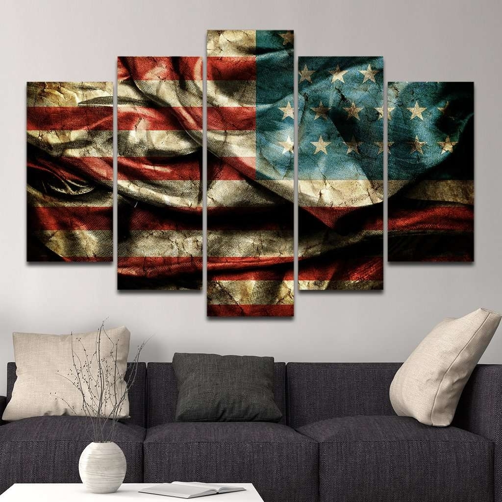 American Flag Wall Art Regarding Fashionable American Flag Multi Panel Canvas Wall Art – Mighty Paintings (View 7 of 15)