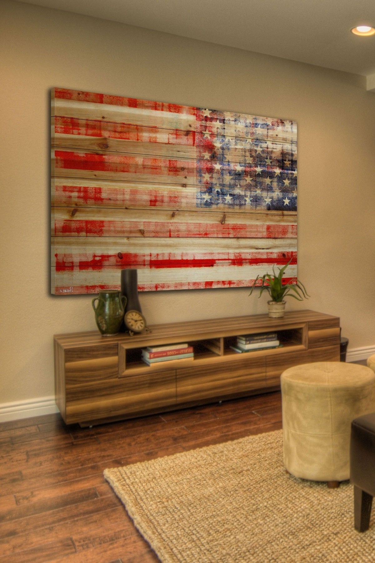 American Flag Wall Art Within Preferred American Flag Brown Distressed Wood Wall Artmarmont Hill Inc (View 4 of 15)