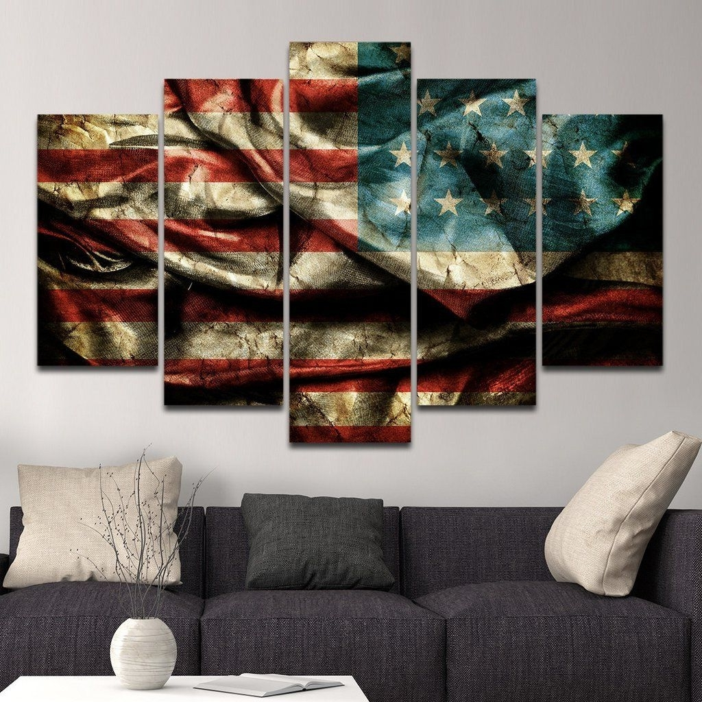 American Flag Wall (View 5 of 15)