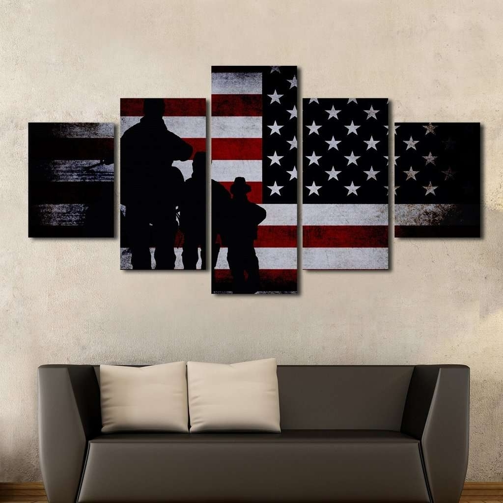 American Flag With Soldiers Multi Panel Canvas Wall Art – Mighty With Regard To 2017 Multi Panel Wall Art (View 5 of 15)
