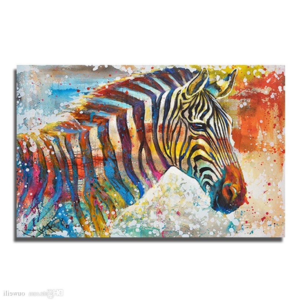 Animal Canvas Wall Art With Newest 2018 Canvas Wall Art Painting Hand Painted Cartoon Animal Zebra Oil (View 12 of 15)