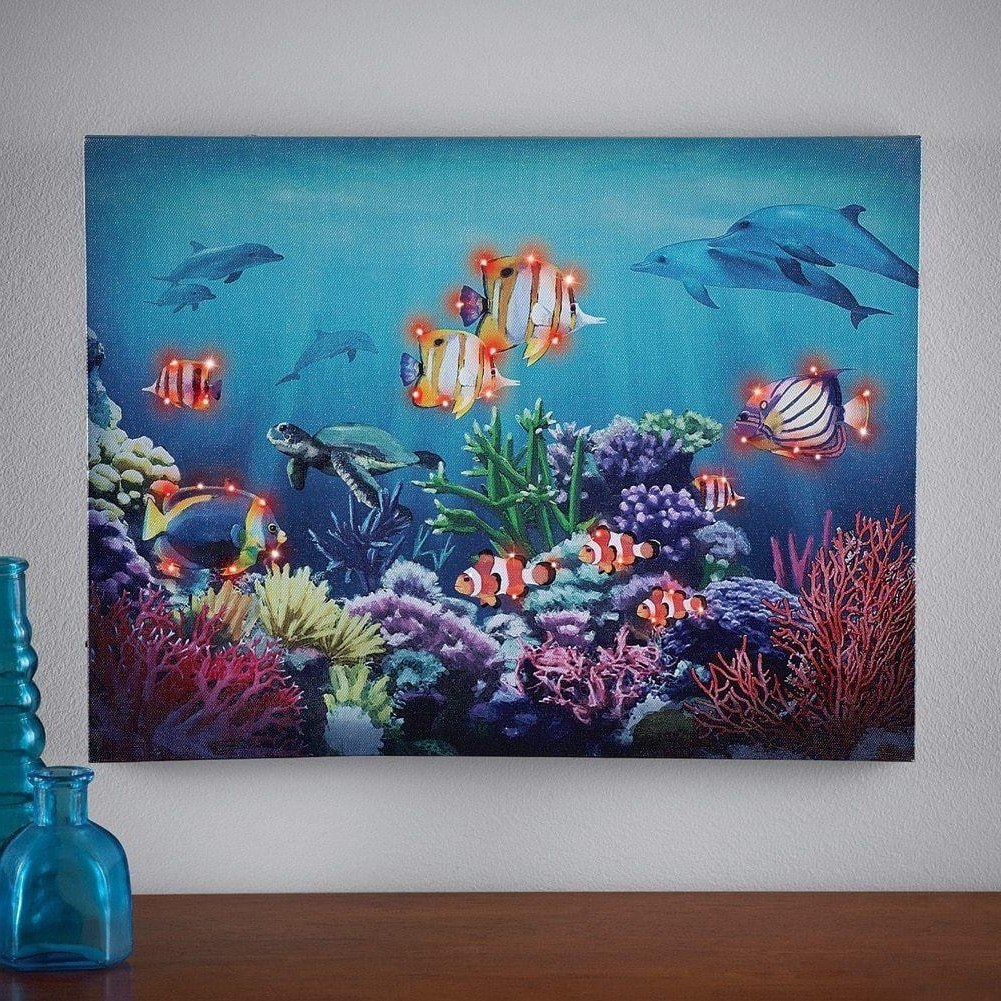 Aquarium Scene Color Changing Lighted Canvas Wall Art Sealife Sea Inside Trendy Sea Life Wall Art (View 1 of 15)
