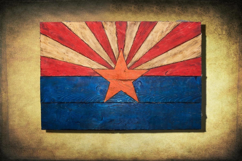 Arizona Wall Art With Most Popular Arizona Flag, Handmade, Distressed Painted Wood, Vintage, Art (View 8 of 15)
