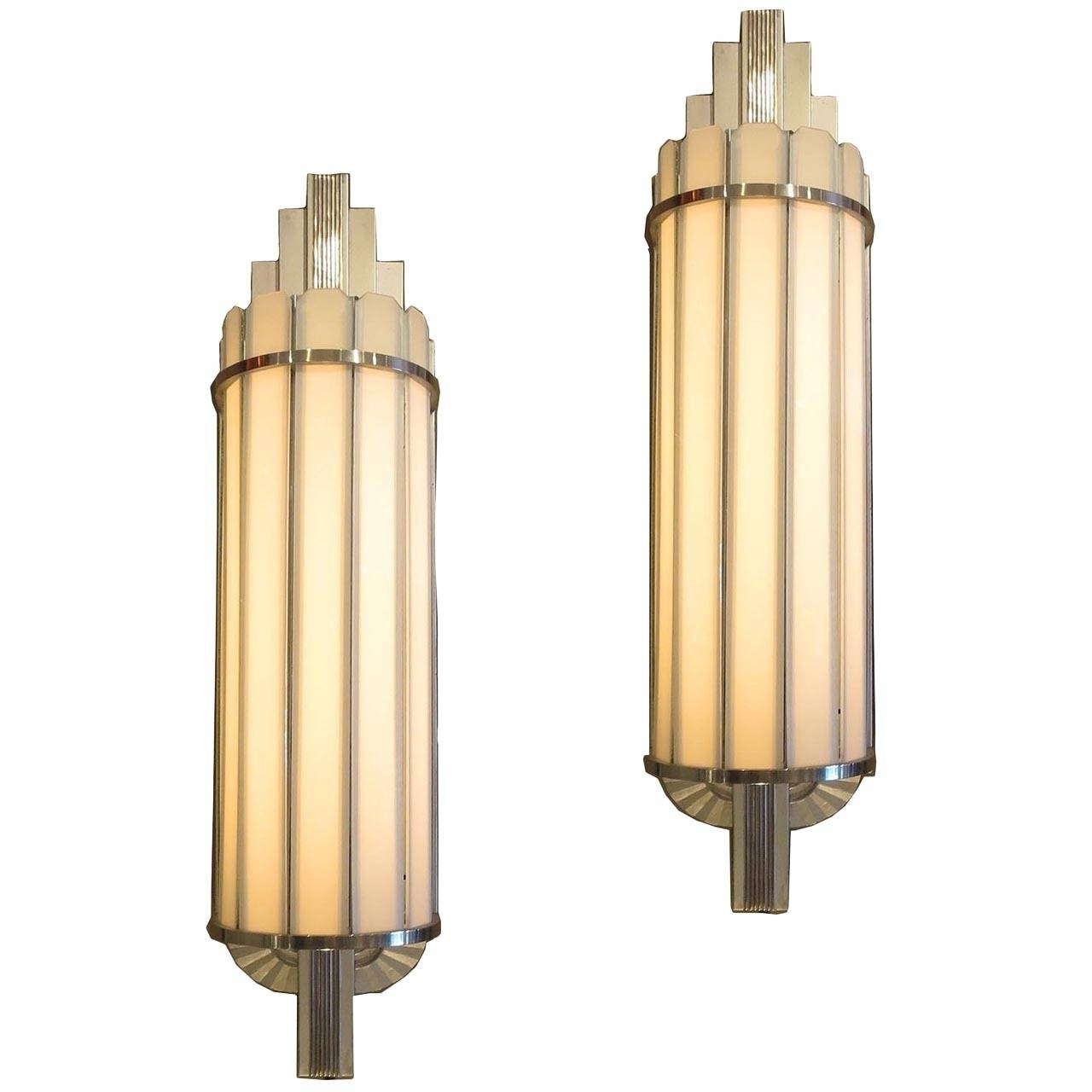 Art Deco Wall Sconces Pertaining To Most Current Art Deco Large Theater Wall Sconces At 1Stdibs (Gallery 1 of 15)
