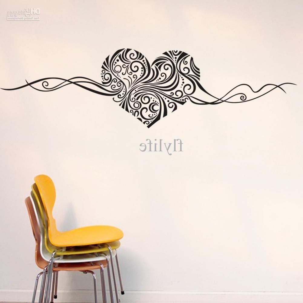 Artistic Heart Love Shape Wall Stickers, Vinyl Art Home Room Wall Regarding Latest Home Wall Art (View 3 of 15)