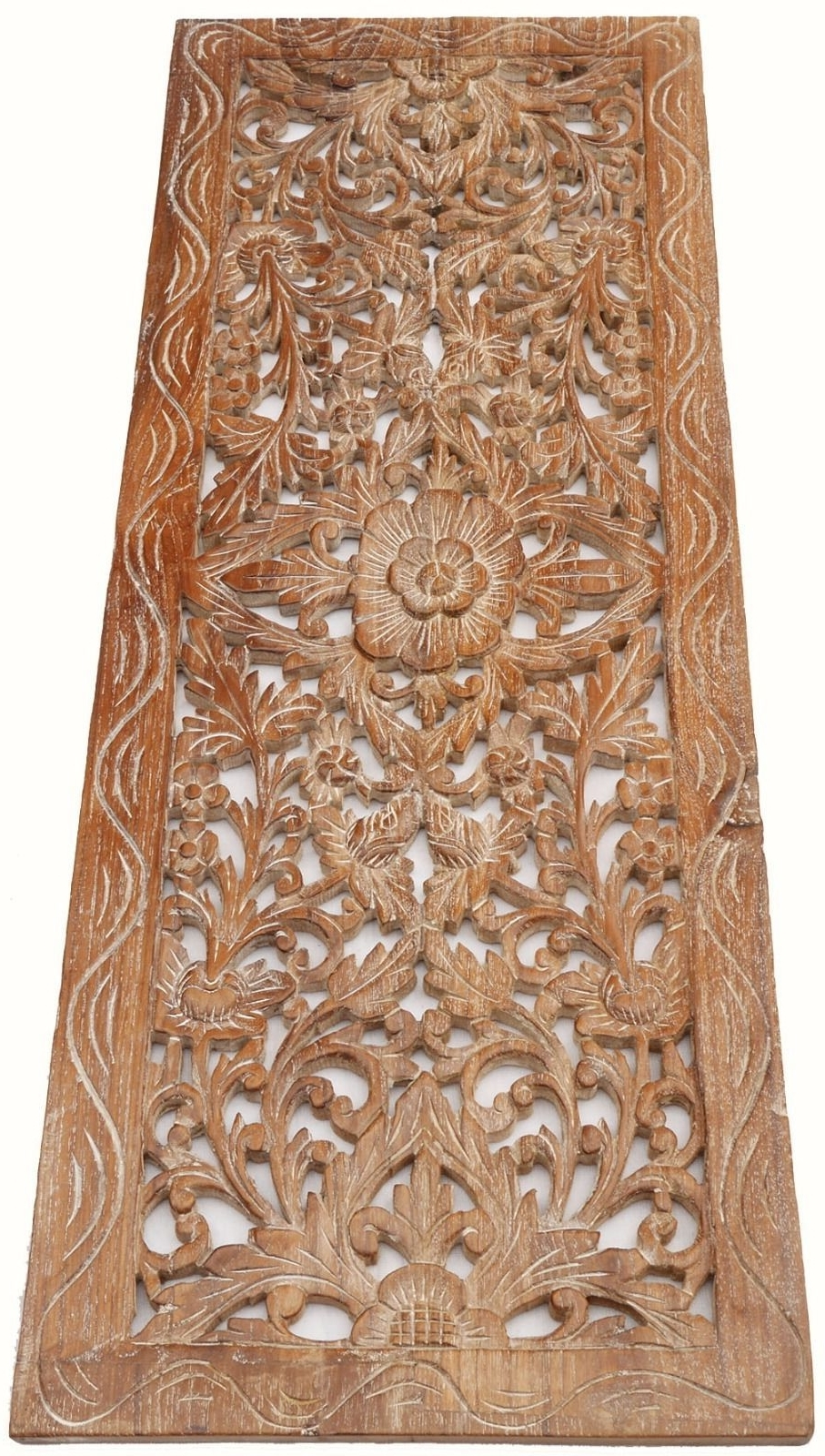 Asian Carved Wood Wall Decor Panel. Floral Wood Wall Art (View 3 of 15)