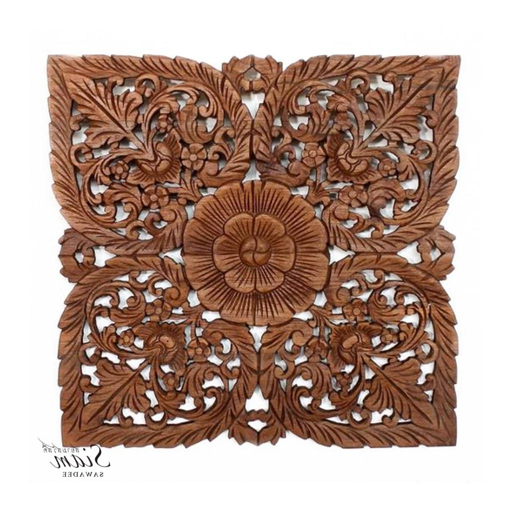 Asian Wall Art Intended For Well Known Thai Wood Carving Wall Art Panel In Light Teak Oil Finish (View 4 of 15)