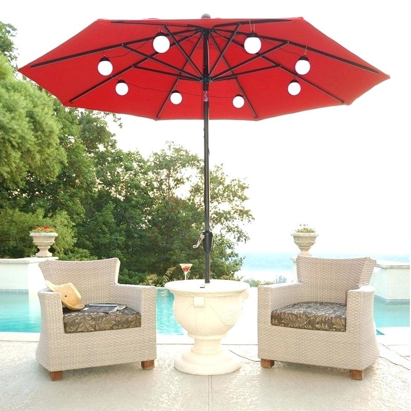 At Home Patio Umbrella Admirable Lighted Patio Umbrella With Cool Inside Favorite Lighted Umbrellas For Patio (View 2 of 15)