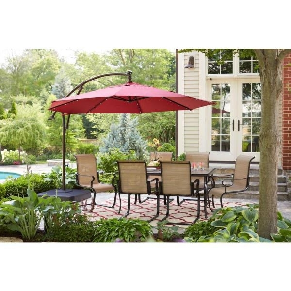 Attractive Patio Umbrella 11 Ft 11 Ft Led Round Offset Patio For Fashionable Hampton Bay Offset Patio Umbrellas (View 2 of 15)