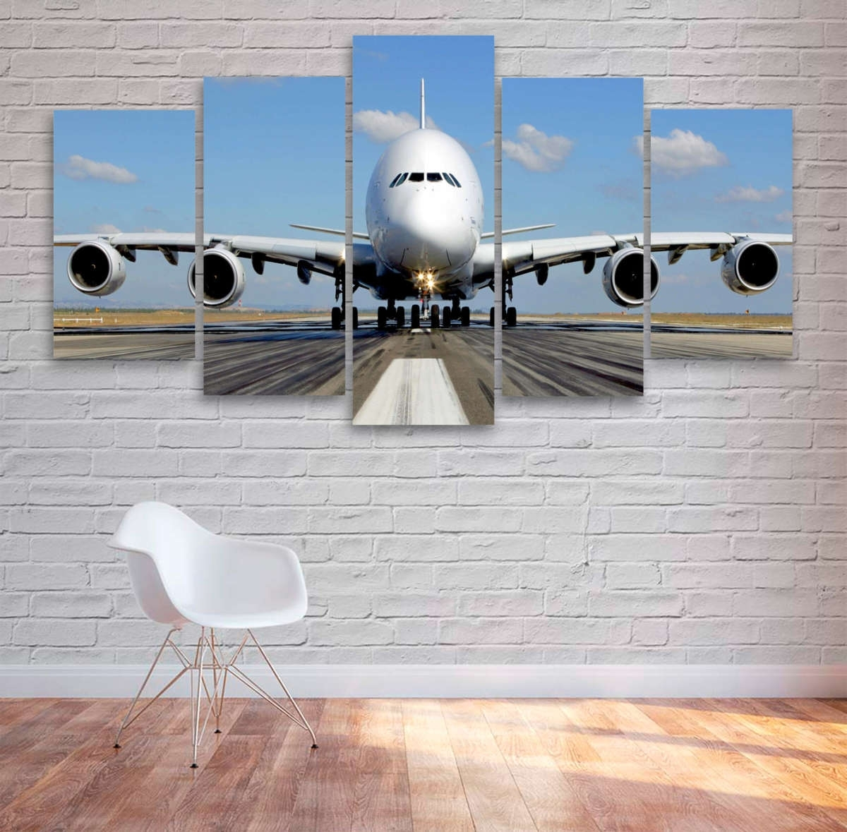 Aviation Wall Art For Popular Passenger Airplane Multi Panel Canvas Wall Art – Mighty Paintings (View 9 of 15)