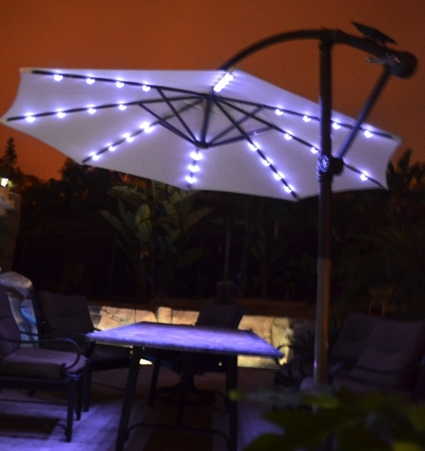 Awesome Solar Lighted Patio Umbrella Offset Patio Umbrella Solar Intended For Trendy Lighted Umbrellas For Patio (View 3 of 15)