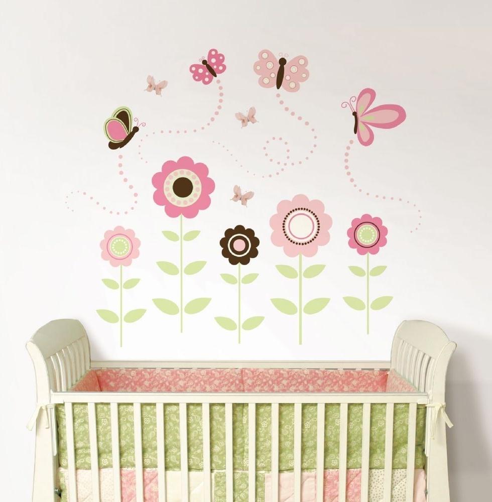 Baby Wall Art Regarding Recent Butterfly Garden Wall Art Sticker Kit (View 3 of 15)