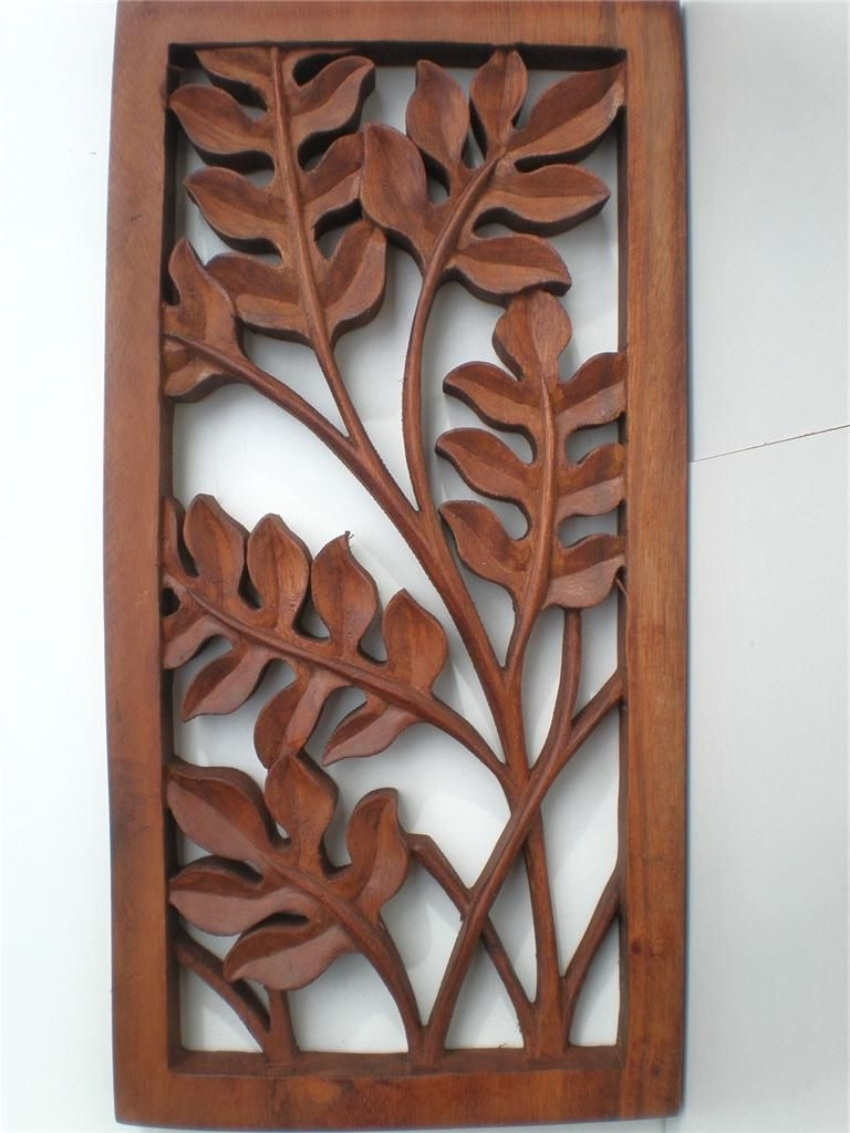 Bali Leaf Wood Carved Wall Art Hanging Relief Carving Balinese 40Cm In Latest Wood Carved Wall Art (View 2 of 15)