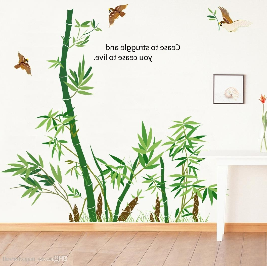 Bamboo Forest Wall Art Mural Decor Cease To Struggle And You Cease Pertaining To Latest Bamboo Wall Art (View 2 of 15)