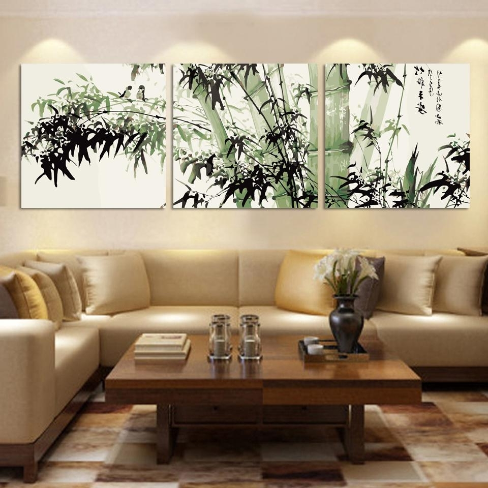 Bamboo Wall Art Regarding Most Current Bamboo Canvas Wall Art Landscape Painting 3 Pieces Large Bamboo Wall (View 12 of 15)
