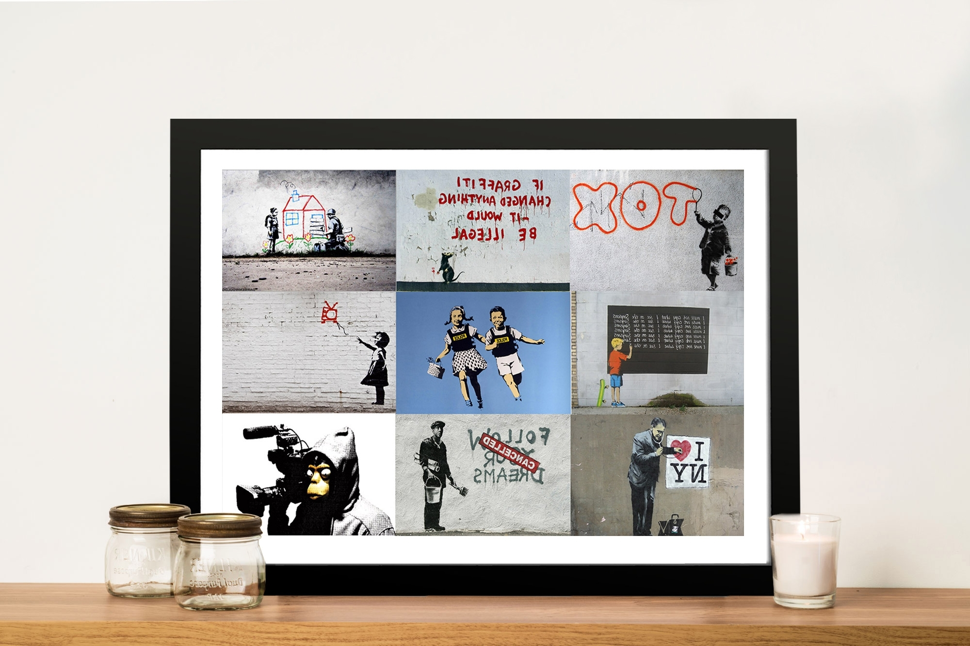 Banksy Montage Pictures Art Framed Wall Art Perth Au With Most Recently Released Framed Wall Art (View 5 of 15)
