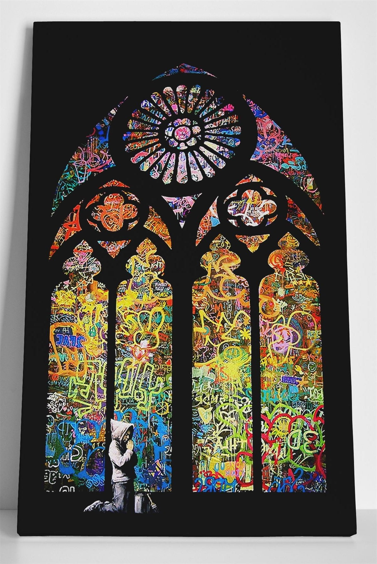 Banksy Stained Glass Box Canvas Print Wall Art – Church Window Pertaining To Popular Stained Glass Wall Art (View 2 of 15)