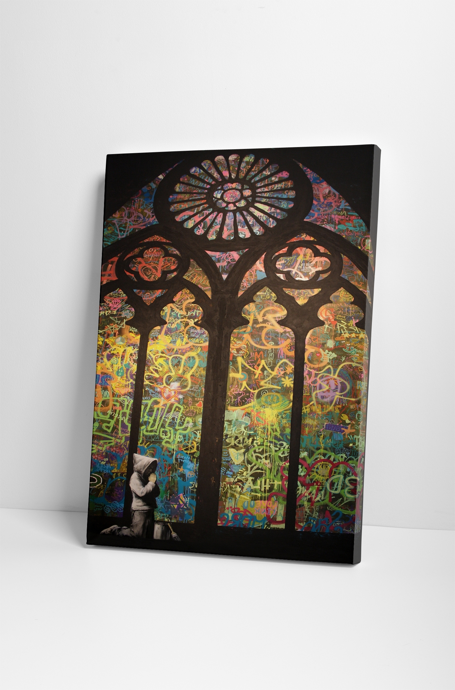 Banksy Stained Glass Cathedral Canvas Wall Art Inside Most Current Stained Glass Wall Art (View 6 of 15)