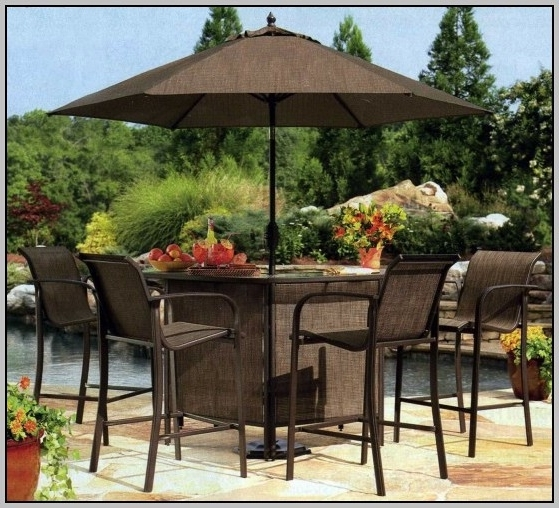 Bar Height Patio Table And Chairs Amazing Umbrella For Bar Height With Current Patio Umbrellas For Bar Height Tables (View 2 of 15)