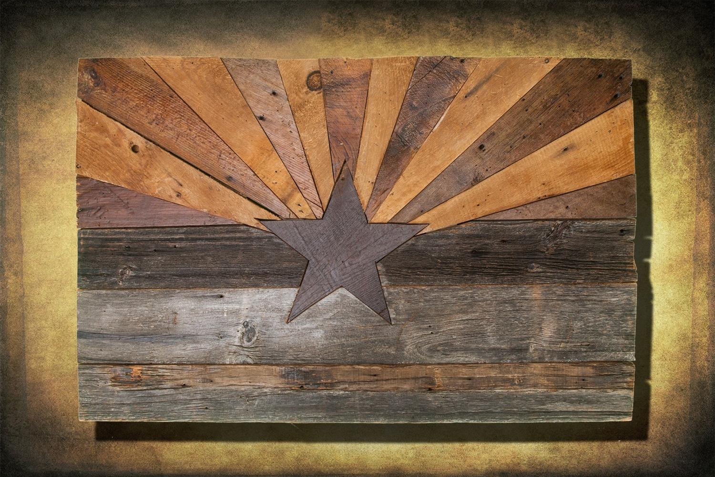 Barn Wood Arizona Flag, Handmade, Distressed Natural Wood, Vintage Within Recent Arizona Wall Art (View 8 of 15)