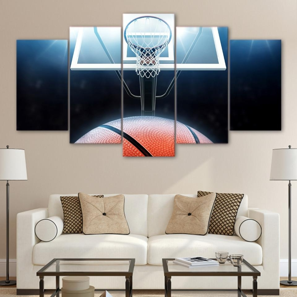 Basketball Wall Art For Popular 5 Panel Canvas Wall Art (View 6 of 15)