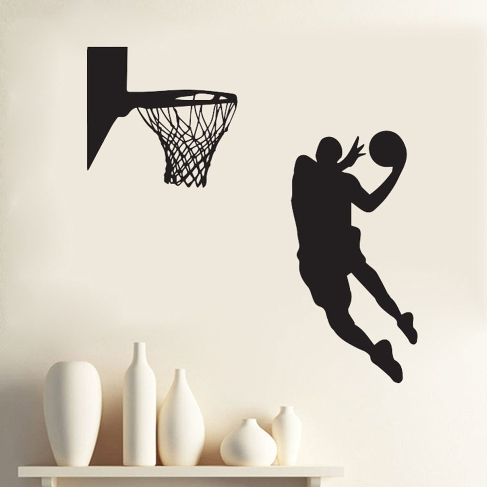 Basketball Wall Art Intended For Best And Newest Acting Cool Wall Decal Nba Slam Dunk Basketball Wall Mural Removable (View 8 of 15)